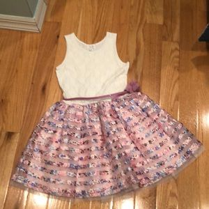 Gorgeous girls 10-12 ivory/pink tulle dress